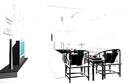 LS复式小户型的客厅效果图3D模型