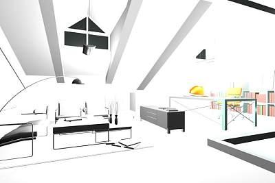 外国风格客厅3D模型下载 (1)