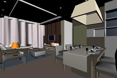 客厅3D模型 (1)
