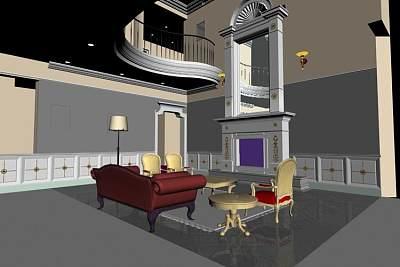 欧式客厅3D模型下载 (1)