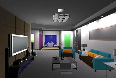 精美的客厅3D模型 (1)