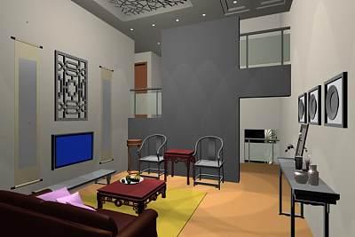 小型中式客厅3D模型下载 (1)