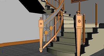 3D模型-C形楼梯