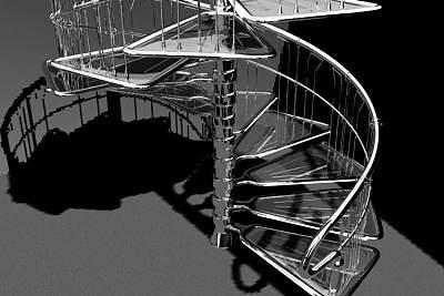 3D模型-漂亮的铁艺旋转楼梯