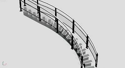 3D模型-玻璃楼梯
