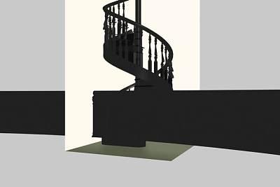 3D模型-经典的木制旋转楼梯