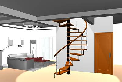 连云港瑞王楼梯-旋转楼梯带客厅部分3D模型