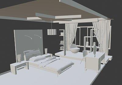 粉红色的女孩房间效果图3D模型下载 (1)