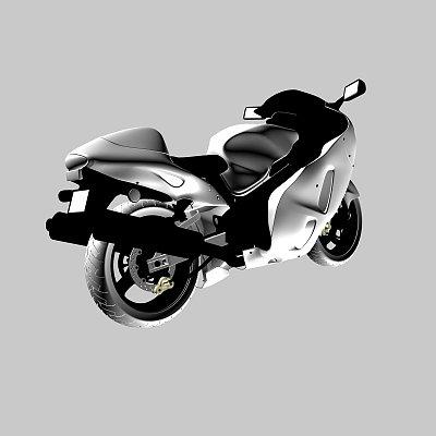 帅气的摩托车3D模型